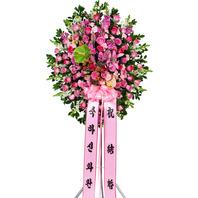 핑크장미 원형오브제 신화환